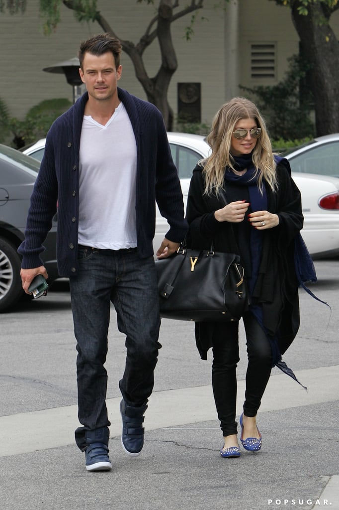 "Expectant parents Fergie and Josh Duhamel spent St. Patrick's Day at their local church in LA. While neither star was wearing green, they did both sport matching blue and black ensembles. However, just because they didn't wear emerald doesn't mean that the couple didn't get in on the Irish fun. Josh tweeted St. Paddy's Day wishes to his fans, including a snap of himself covered in green slime from a Kid's Choice Awards commercial. Fergie had some excitement of her own yesterday when her fashion diary with The New York Times was published in its Style section. In the article, Fergie revealed her maternity style secrets. She said, ""Being four months pregnant, I need to be comfortable, but I don't want to be frumpy."""