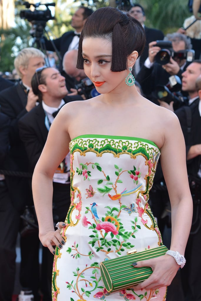 Fan Bingbing echoed the rich embroidery with emerald Chopard jewels and a coordinating Elie Saab clutch.
