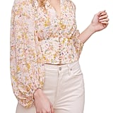 Astr the Label Floral Print Blouson Sleeve Top