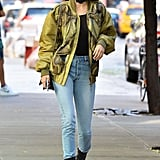 She Covered Up With a Green Bomber and Accessorized With a Choker and Sunglasses