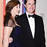 Evelyn McGee-Colbert and Stephen Colbert smiled upon arrival.