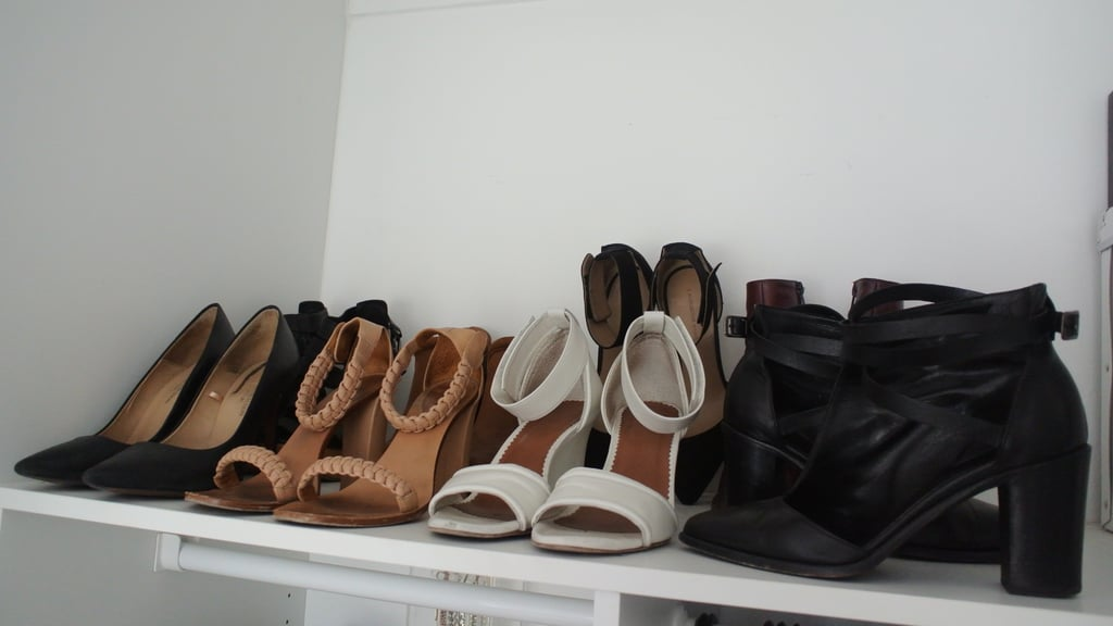 That fateful afternoon a few years ago, I had over 50 pairs of shoes. Now it's more like 15, and that's including thongs! I keep my shoe colour palette neutral, and there's a shoe to match every outfit I own. If it doesn't fill a gap in my wardrobe, I don't buy it.