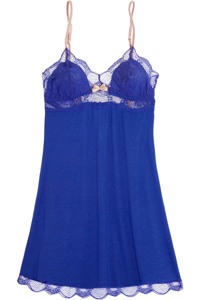 Eberjey Estelle Blue Lace-Trimmed Chemise