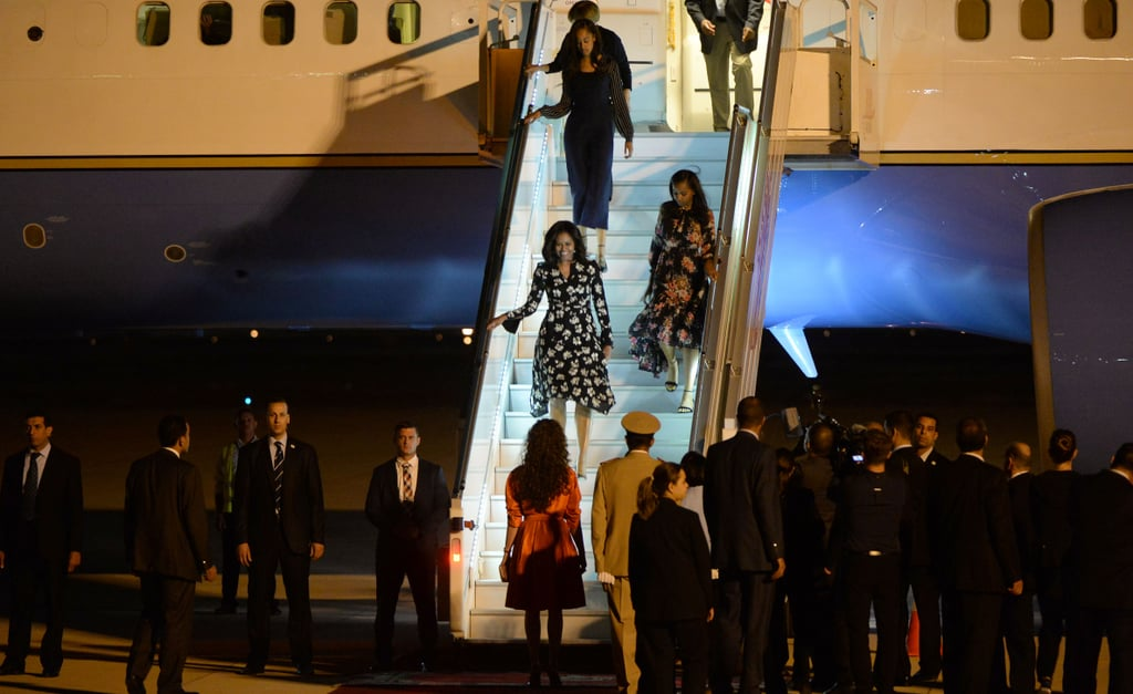 Michelle, Malia, and Sasha Coordinated Outfits as They Landed in Morocco