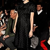 At the Marc by Marc Jacobs show, Jessica Stam sported an all-black look, including a retro-style dress and lace-up oxfords.