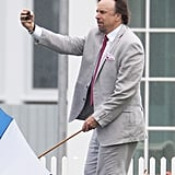 Kevin Nealon had to balance his umbrella and camera while snapping a selfie at Cheryl Hines and Robert F. Kennedy Jr.'s wedding at the famous Kennedy compound in Hyannis Port, MA, in August 2014.