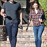 Sept. 3, 2015: Ben and Jen appeared at ease as they left an office together in LA.