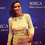 Rosario Dawson stopped for a photo on the red carpet.