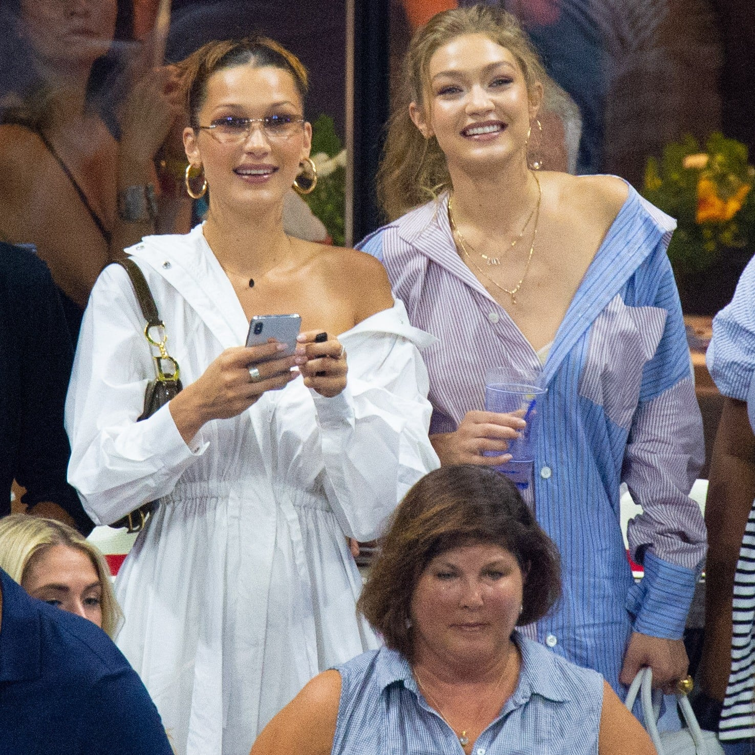 00b50612f52 Gigi and Bella Hadid at US Open in Button-Downs 2018