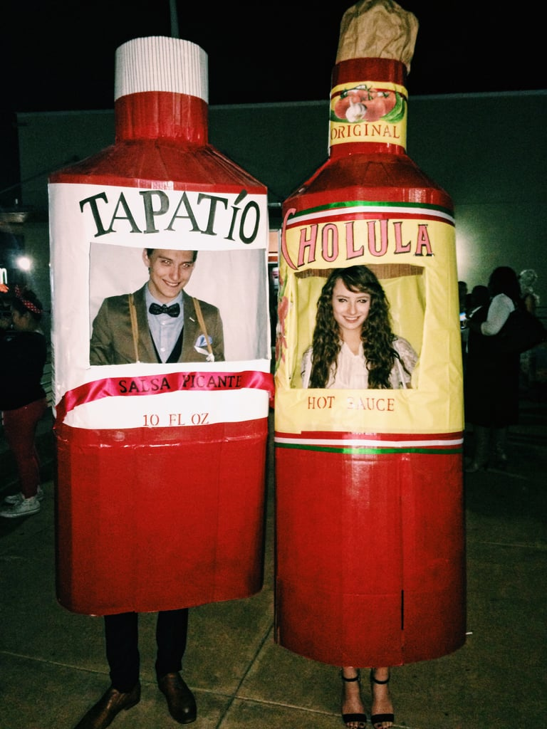 all you need for these simple bottle costumes is cardboard tape and spray paint