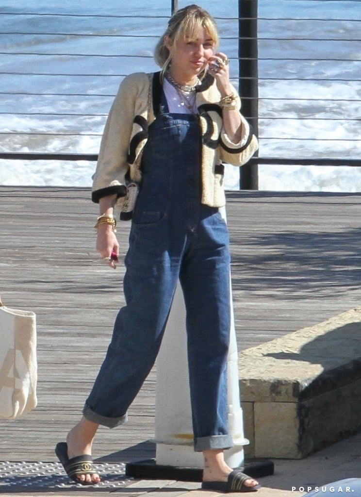 Miley Cyrus Chanel Overalls and Slides