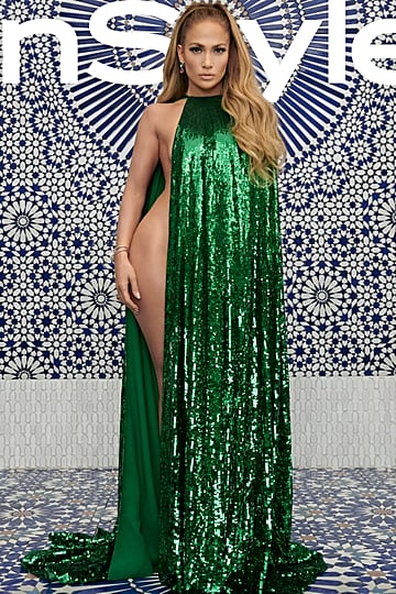 Jennifer Lopez Green Valentino Cape in InStyle December 2018