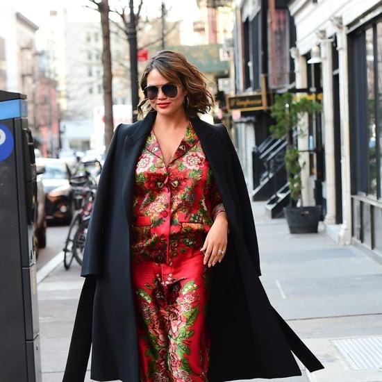 Chrissy Teigen's Floral Silk Pajamas