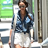 Jamie Chung jazzed up her denim shirt and lace shorts with this Loft beaded necklace ($20) during a sunny stroll in LA.