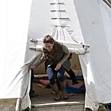 Kate Middleton went into a tepee with children from Expanding Horizons' primary school outdoor camp.