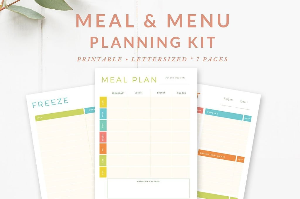 meal and menu planning kit 7 printable meal planning sheets