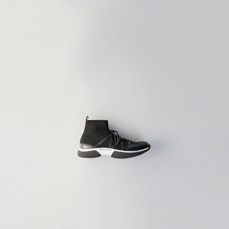Maje High Top Sneakers in Stretch Fabric