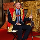 Prince William pulled out all the stops in Tokyo on Saturday, donning traditional Japanese attire over his suit.