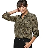 POPSUGAR Essential Button Down Shirt in Leopard
