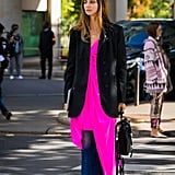 Temper a highlighter hue with a blazer and boots for Fall.