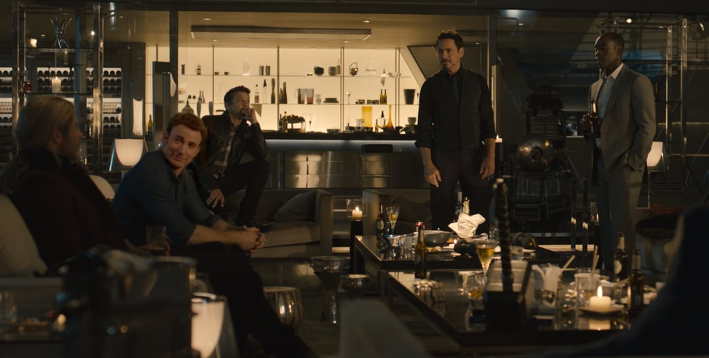 Thor (Chris Hemsworth), Captain America (Chris Evans), Hawkeye (Jeremy Renner), Iron Man (Robert Downey Jr.), and Rhodes (Don Cheadle) have a casual gathering.