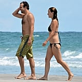 Olivia Wilde wore a string bikini while Jason Sudeikis went shirtless.
