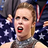 Ashley Wagner got very animated after discovering her score during the ladies short program in the team figure skating competition at the Winter Olympic Games in Sochi on Saturday.