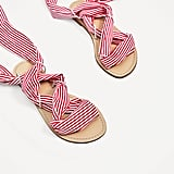 Zara Gingham and Stripe Ribbon Sandals
