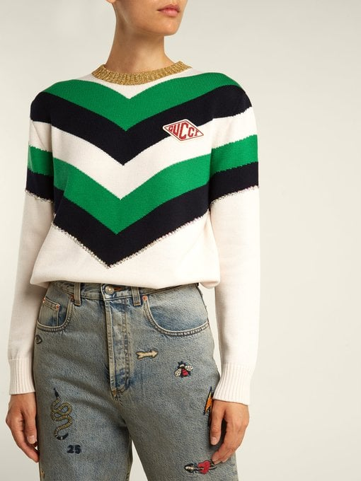 Gucci Chevron-Striped Wool Sweater