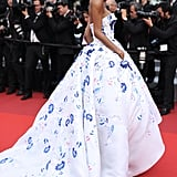 Jourdan Dunn wore a fairy-tale Ralph & Russo gown to The Unknown Girl's premiere.