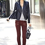 Zippered denim plays to this seasons biggest trends, while a leather jacket and brown leather boots feel entirely classic. Source: Greg Kessler