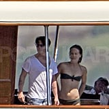 Johnny and Vanessa relaxed on a yacht off the coast of France last year.