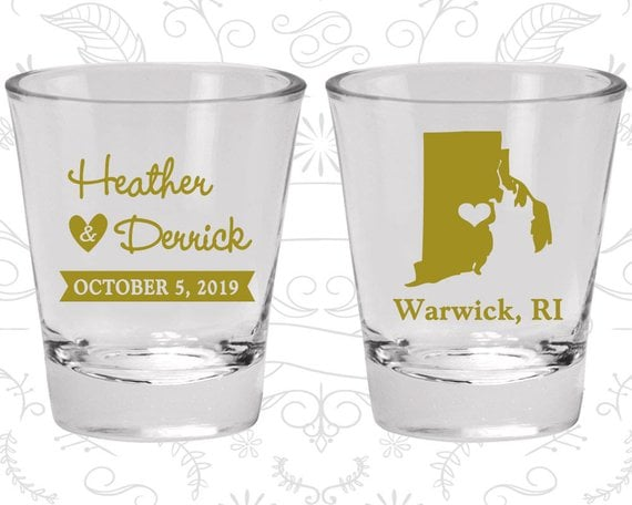 Rhode Island Wedding Shot Glasses