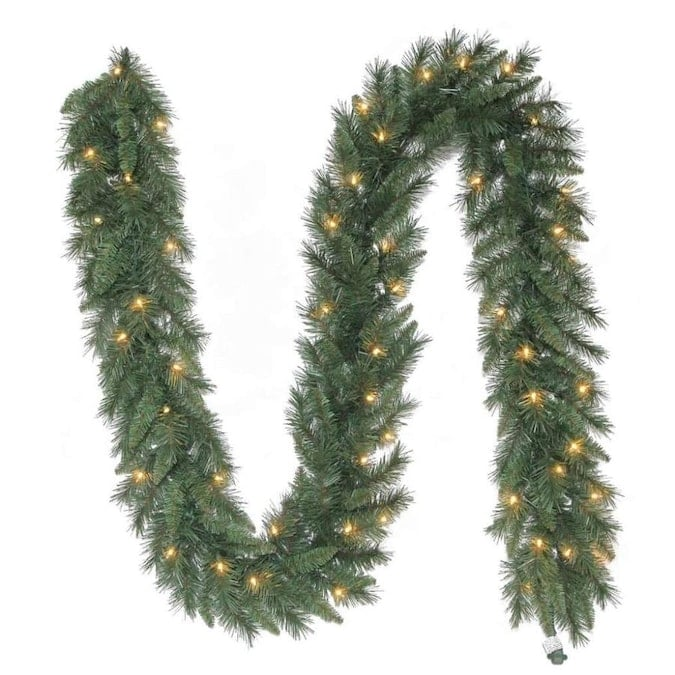 Holiday Living Indoor/Outdoor Pre-lit 9-ft Colorado Pine Garland with White