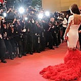 Chery's feathered Stéphane Rolland train stood out, even against the matching red carpet.
