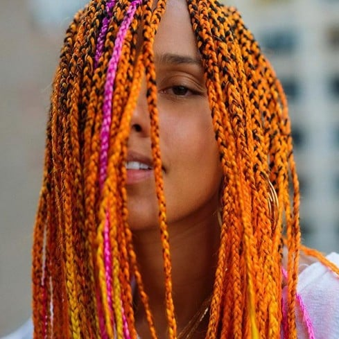 Alicia Keys Gets Neon Orange Braids