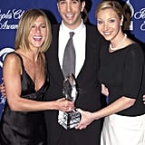 Jennifer, David and Lisa posed with their People's Choice Award in 2001.