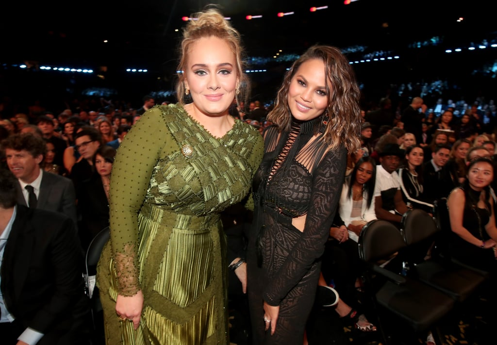 """Although we don't see her at public events very often, Adele truly satisfied our appetites for the British singer-songwriter at this year's Grammy Awards with not one, but two performances (with added drama), scooping up a large percentage of the awards, albeit controversially, and announcing she's a married lady. Let's not forget the flawless cat eye and gorgeous green Givenchy gown she served us either. We loved it, you loved it, and we're pretty sure every famous face in the room loved it too. Imagine a world where telling Beyoncé you love her is met with love back. Read on for all the times saying """"Hello"""" to Adele was at the top of these celebrities' lists, then listen to the artists who have dared to cover her."""