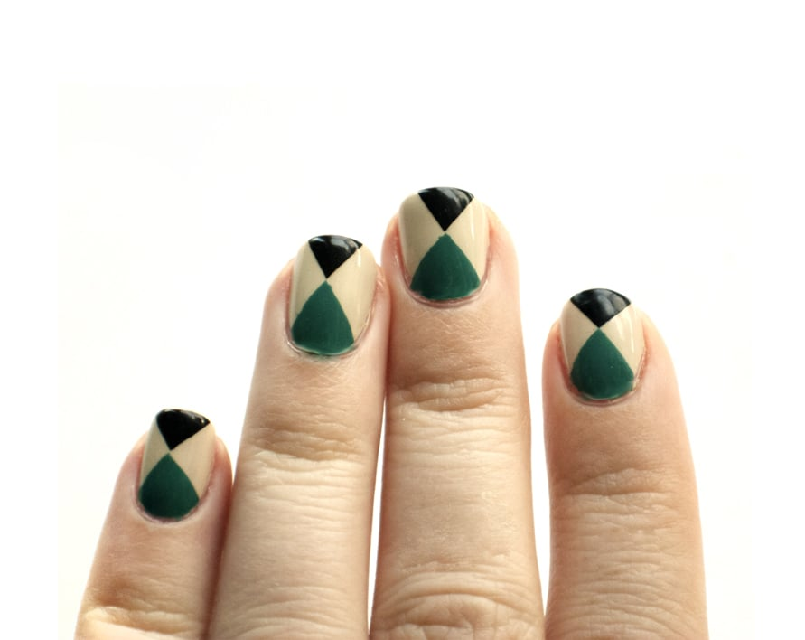 A manicure inspired by a geometric-pattern Stella McCartney dress.