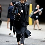 Leather pants will take you from day-to-night and are the easiest way to achieve a sexy look when it's cooler.
