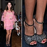 Olivia Palermo also took the sweet-meets-tough approach to her Summer styling, pairing a lacy pink Valentino number with sparkly studded Giuseppe Zanotti sandals.