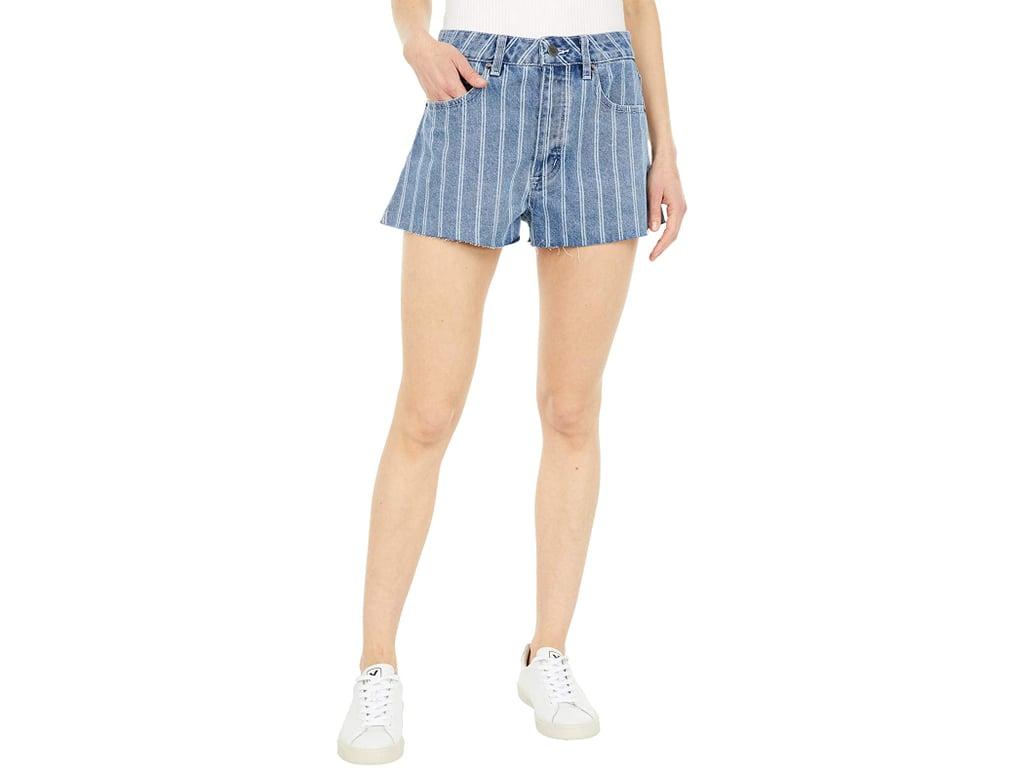 Shop Sarah's Exact Striped Denim Shorts