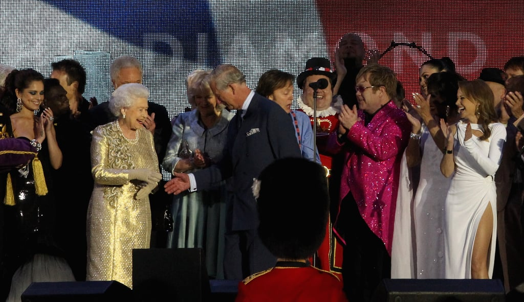 The queen shook hands with Prince Charles at the Diamond Jubilee Concert at Buckingham Palace.