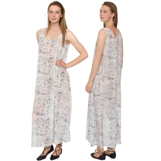 """>> Play up the artistic print on this flowing chiffon dress with pop-art accessories. A skinny belt reigns in the roomy silhouette. American Apparel Printed Chiffon Maxi Dress, $70 Looks chic with: <iframe src=""""http://widget.shopstyle.com/widget?pid=uid5121-1693761-41&look=3352696&width=3&height=3&layouttype=0&border=0&footer=0"""" frameborder=""""0"""" height=""""244"""" scrolling=""""no"""" width=""""286""""></iframe>"""