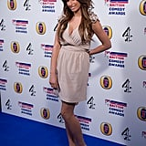 Stacey Solomon looked very chic in a nude mini dress.