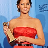 "Jennifer Lawrence gave her memorable ""I beat Meryl"" acceptance speech after winning a Golden Globe for best actress."
