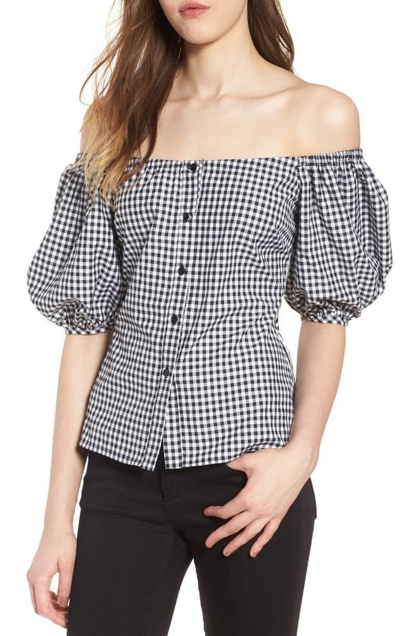 04ed49e376df2f Wayf Buffalo Check Off the Shoulder Blouse | Cute Tops on Sale at ...