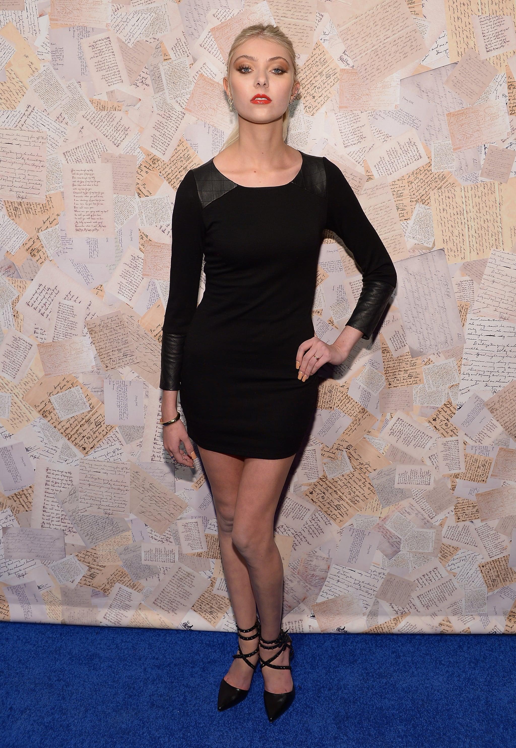 Taylor Momsen put her svelte figure on display in a little black Alice + Olivia dress and strappy pumps at the designer's presentation.