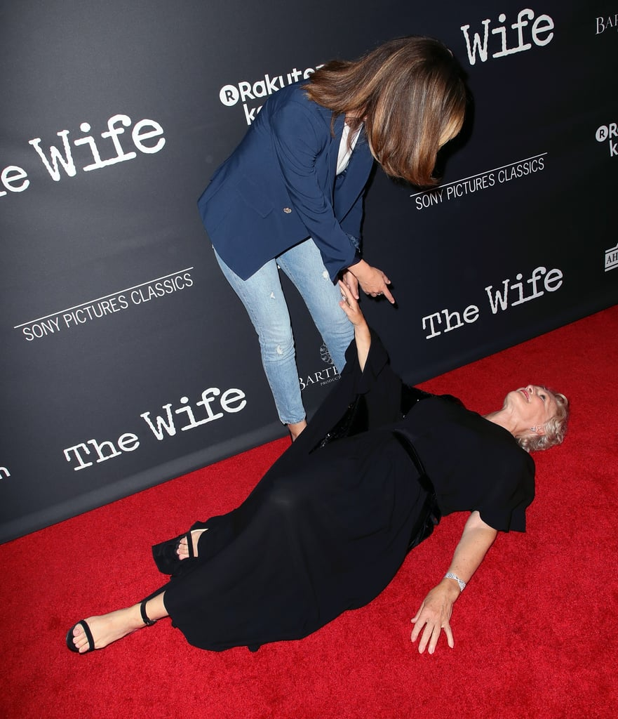 Find yourself a friend like Glenn Close. The 71-year-old actress had the perfect reaction when she spotted former Damages costar Rose Byrne at the premiere of The Wife on July 23: she faux fainted from excitement.  Glenn and Rose worked together from 2007 to 2012 on the FX thriller, and judging by their red carpet run-in, they still share a close bond. Rose couldn't stop laughing as she tried to help Glenn up from the ground, and the two were all smiles as they posed together for photos. Check out the hilarious encounter ahead — these photos made us laugh out loud.      Related:                                                                                                           Sparks Fly Between Rose Byrne and Ethan Hawke in the Juliet, Naked Trailer