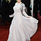 Helen Mirren showed off her Nicholas Oakwell gown on the BAFTA red carpet.